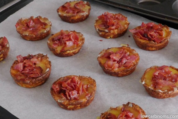 low carb cauliflower, cheese, and bacon tarts - suitable for keto, paleo, atkins diet