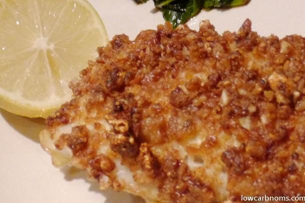 low carb pork rind battered fish - suitable for keto, paleo, atkins diet