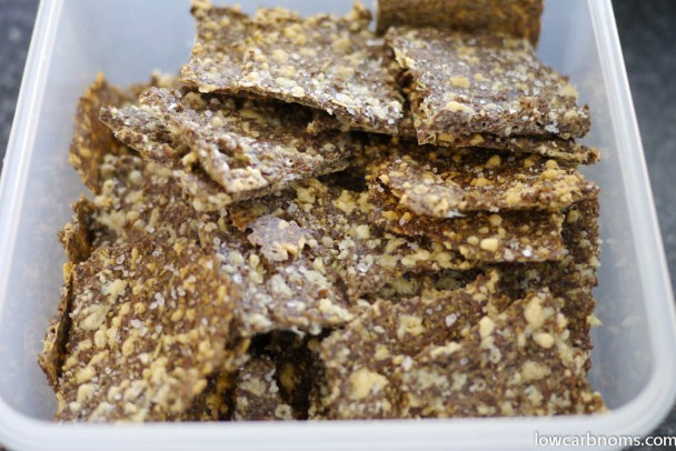 low carb rosemary and sea salt flax crackers - suitable for keto, paleo, atkins diet