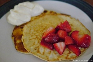 Cream Cheese Pancakes with Strawberries and Cream